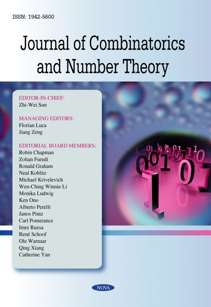 Journal Of Combinatorics And Number Theory Nova Science Publishers